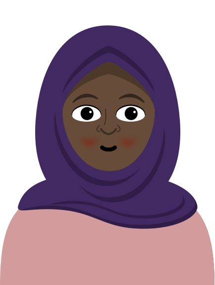 Illustration: A front end developer wearing a purple hijab and salmon shirt smiles and blushes.