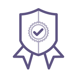 Icon: A shield with a check mark  						emblazoned in the center and ribbons below.