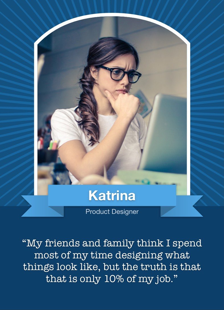 The front of the persona card shows a large portrait with a banner underneath giving the persona's name and title, along with a quote from a typical user.