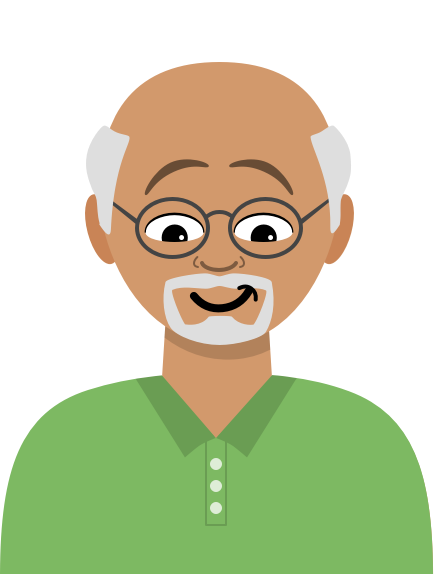 Illustration: A balding male user researcher with a goatee and a green polo smiles mischievously while looking down.