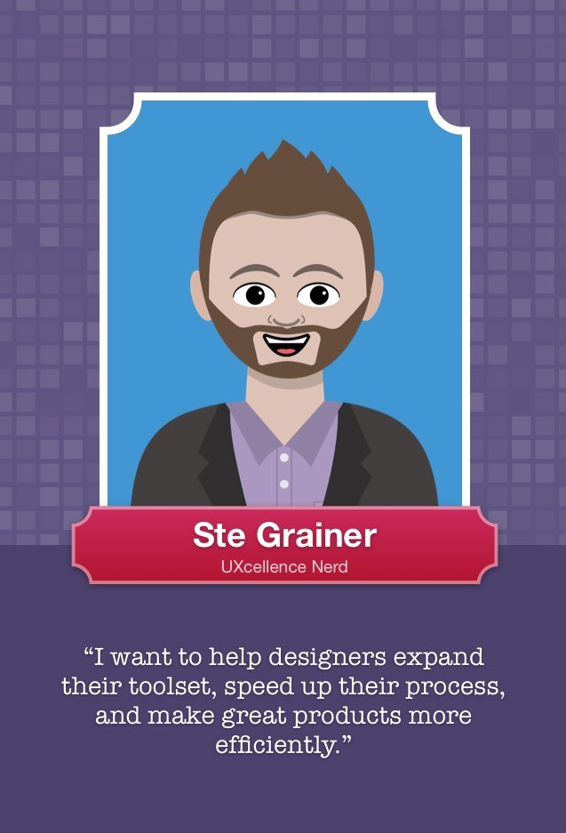 A copy of the Persona Card with a photo of Ste Grainer, creator of UXcellence and the UX Compendium