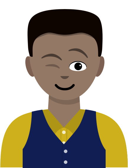 Illustration: A male UX designer wearing a yellow shirt and navy vest winks and smiles.