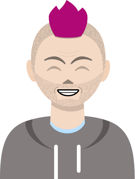 Illustration: A male visual designer with a pink mohawk and a grey hoodie grins with his eyes shut in glee.