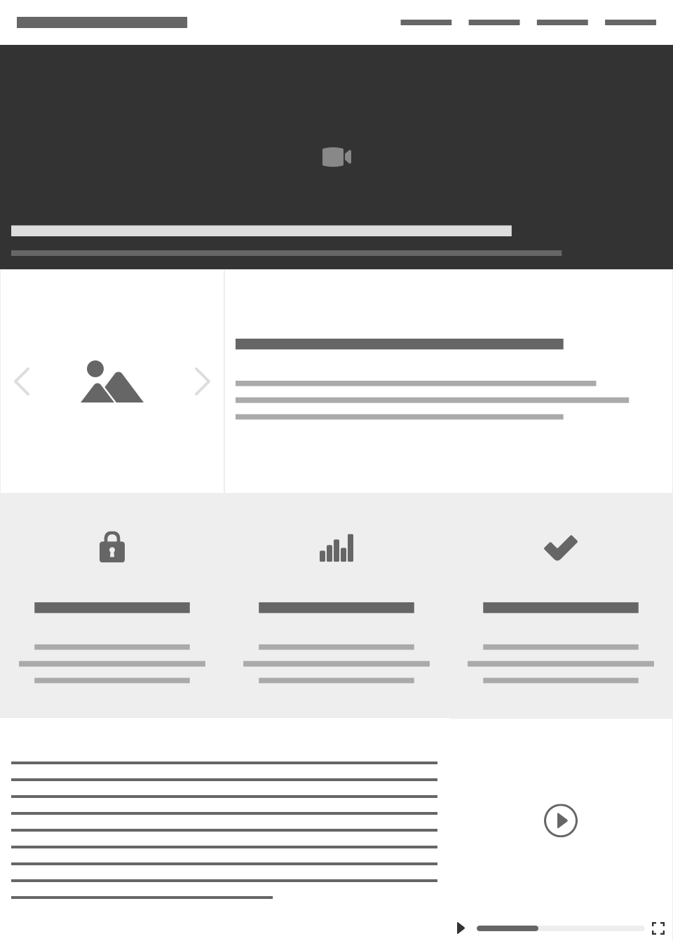 A wireframe of a landing page. At the top is a navigation bar with a left-aligned title, and right-aligned links followed by a hero block a video icon and heading at the bottom. Below is a carousel with a summary to the right of it, then three centered feature blocks with different icons (a lock, a chart, and a check mark), followed by a longer paragraph with a small video block to the right of it.